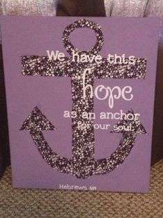 Purple Anchor Canvas Painting on Etsy, $30.00