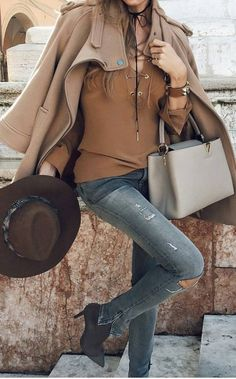#fall #outfits Camel Coat // Hat // Grey Leather Bag // Skinny Jeans // Ankle Boots