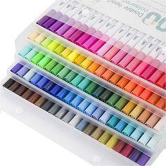 100 Colors Watercolor Brush Pens Set Dual Tips Soft Fine Art Markers Drawing Pen