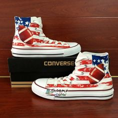 American Football Converse Shoes Hand Painted High Top Canvas Sneaker