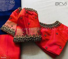 Stunning red color designer blouse with hand embroidery bead and zardosi work on sleeves. Wedding Saree Blouse Designs, Simple Blouse Designs, Stylish Blouse Design, Blouse Back Neck Designs, Silk Saree Blouse Designs, Wedding Blouses, Designer Blouse Patterns, Handmade Crafts, Embroidered Blouse