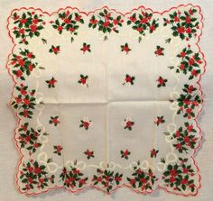 Scalloped Holly Berry Christmas Handkerchief Vintage Cotton Hanky #Unbranded #Holiday