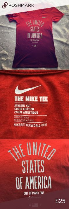"""NWT Nike USA t-shirt Size: XS. Red ombré Nike t-shirt. 100% cotton. V-neck, athletic cut. 25"""" long. 13"""" pit to pit. Nike Tops Tees - Short Sleeve"""