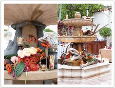 A gorgeously decorated fountain for an outdoor cocktail hour at a Bel Air Bay Club wedding by Alchemy Fine Events Reception Ideas, Reception Decorations, Table Decorations, Old Hollywood Decor, Bel Air Bay Club, Vision Of Love, Persian Wedding, Backyard, Patio