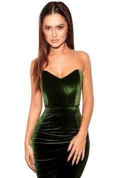 84a782617d3b Clothing   Bodycon Dresses    Antonella  Olive Green Velvet Strapless Dress  Olive Green Dresses