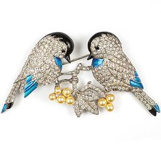 MB-Boucher-Pave-and-Metallic-Enamel-Lovebirds-on-Branches-with-Pearl-Fruits-Pin