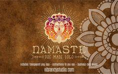 Instant Logo Namaste Yoga Mandala Bohemian PNG by VibrancyStudio