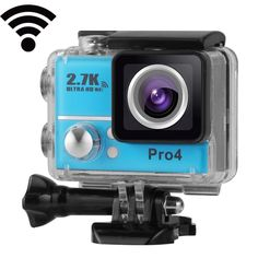 [USD60.70] [EUR55.21] [GBP43.58] PRO4 2.7K Ultra HD Aerial 2.0 inch High Frame WiFi Sports DV Diving Camera, 170 Degrees Wide Angle Lens, 45m Waterproof(Blue)