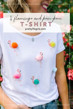 DIY HTV Shirt Ideas: Flamingo and Pom-Pom T-Shirt - The Pretty Life Girls | Today we're sharing one of our favorite HTV shirt ideas using Silhouette Printable Heat Transfer Fabric to bring the tropics to a plain t-shirt with this DIY HTV flamingo and pom pom project. Get ready to feel those island breezes (Or just go sit in front of a fan for while. Whatever you've gotta do.) Click for the tutorial! #silhouette #cricut #heattransfershirts #diyshirt #heattransfervinyl #vinylcrafts… Pom Pom T Shirts, Cut Up Shirts, Band Shirts, Diy Fashion Accessories, Jewelry Accessories, Diy Shirt, Diy Tank, Diy Clothing, Vinyl Projects