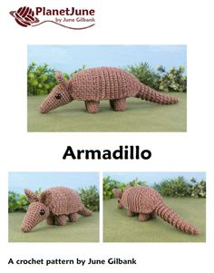 Armadillo amigurumi crochet pattern available from Planet June.