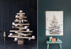 moderner Weihnachtsbaum Holz Wand Zeichnung