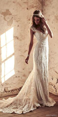 anna campbell 2018 bridal cap sleeves v neck full embellishment elegant sheath wedding dress open v back sweep train (18) mv -- Anna Campbell 2018 Wedding Dresses