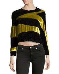 Long-Sleeve Metallic Sweater, Lime/Black
