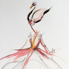 """After receiving a watercolor paint set from her aunt at the age of 7, New York City-based artist Katie Rodgers was hooked for life. Today, she shares her work on Instagram, and we particularly enjoy the ethereal series she calls """"shadow dancers."""" Her latest swan-inspired pieces will make you yearn for a night at the ballet. Follow Katie on Instagram for more »"""