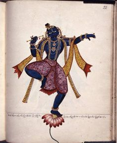 Kṛṣṇa. The blue-complexioned god is shown holding a flute in his right hand, dancing with his right foot flexed and his left supported by an open lotus. His hair is tied in a topknot, decorated with a garland of flowers and hairpins in the shape of the sun and the moon.  Company School 1830 (circa) Thanjavur  © Trustees of the British Museum