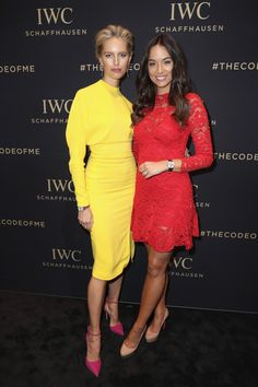Models Karolina Kurkova and Monika Radulovic at the IWC SIHH booth on January 17, 2017 in Geneva. (Photo by Chris Jackson/Getty Images for IWC)