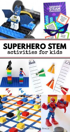 Superhero STEM Activities for Kids - - Inspire the superhero in your child with these fun Superhero STEM Activities that combine their favorite characters with science, coding, math, and more! Superhero Preschool, Superhero Classroom Theme, Superhero Kids, Preschool Science, Superhero Party, Science Fun, Preschool Themes, Physical Science, Earth Science