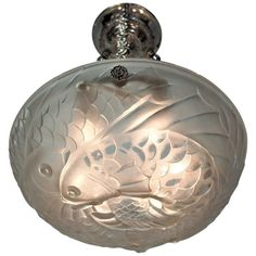 A signed clear frost glass French Art Deco hanging fixture chandelier circa 1930 in nickel-plated bronze or solid bronze hardware by Gills Six-light 60 watt max each. Art Deco Chandelier, Art Deco Lighting, Vintage Chandelier, Chandelier Pendant Lights, Chandeliers, Contemporary Lamps, Antique Glass, Frosted Glass, Christmas Bulbs