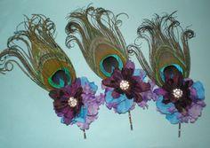 Peacock Feathers Hair Bobby's Bridesmaids by BittysJewelryAndMore