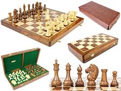 House of Chess  Rio Staunton Biggie Knight Golden Rosewood 4 Chess Set  21 Folding Chess Board with Algebraic Notation  2 Extra Queens *** See this great product.