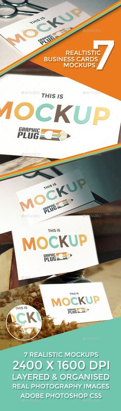 7 Realistic Business Cards Mockup Template