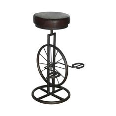 Add a touch of vintage-inspired charm to your home bar, lounge, or den with this stunning cycling-themed stool. Beautifully crafted from metal, this Unicycle Stool is perfect for a retro, transitional,...  Find the Unicycle Stool, as seen in the Truth Coffee's Steampunk Revolution Collection at http://dotandbo.com/collections/truth-coffees-steampunk-revolution?utm_source=pinterest&utm_medium=organic&db_sku=113006