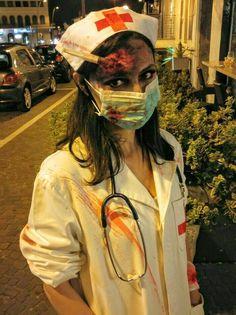 Zombie nurse More halloween asylum Halloween Zombie, Diy Halloween Nurse, Zombie Nurse Costume, Doctor Halloween Costume, Couples Halloween, Looks Halloween, Adult Halloween Party, Scary Halloween Costumes, Being A Nurse