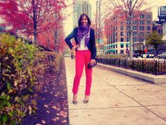 day-to-night denim - love the color coordination with the fall leaves!