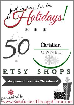 Shop Christian Owned Etsy Shops and Small Business with this jam packed list of our favorites from Satisfaction Through Christ and Friends
