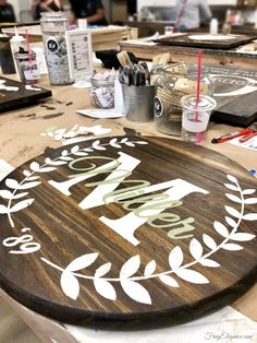 Making Our Own Sign Art at Board and Brush - FrugElegance Personalized Wood Signs, Diy Wood Signs, Painted Wood Signs, Wall Signs, Vinyl Crafts, Wooden Crafts, Home Crafts, Diy Craft Projects, Wood Projects