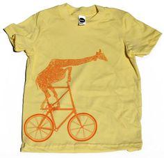 Dark Cycle - Children's giraffe on two wheels T shirt. $18