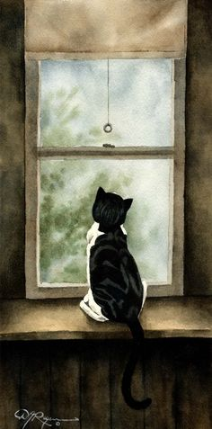 LOOKING OUT Art CAT Print Signed by Artist D J Rogers