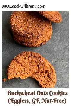 Buckwheat and Oats cookies are eggless, gluten-free and nut-free melt in mouth cookies. They are crunchy on the outside and have a soft texture inside. Loaded with butter, they just need 6 main ingredients including Vanilla Essence. A delicious and somewhat healthy treat for your little ones. #buckwheat #cookeis #oats #glutenfree #eggless #nutfree #healthy #delicious #easter #easterbaking #baking Vegetarian Eggs, Vegetarian Recipes, Gluten Free Baking, Gluten Free Recipes, Friend Recipe, Oat Cookies, Types Of Cakes, Vanilla Essence, Buckwheat