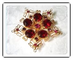Red  Star Brooch - Rhinestone w Curling Wire Heart Accents Pin-1733a-012312000
