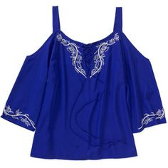 180bceb4366 Generic - Tea Rose Women s Plus-Size Floaty Woven Cold-Shoulder Top with  Embroidery - Walmart.com
