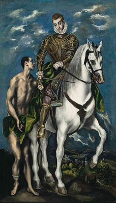 """""""Saint Martin and the Beggar"""" by Unknown Artist/El Greco Workshop. 39 x 21 oil on canvas. In the collection of The National Gallery of Art, Washington, DC. (Andrew Mellon W. Pinned for comparison to version painted by El Greco. National Gallery Of Art, National Art, Art Gallery, Spanish Painters, Spanish Artists, Renaissance Kunst, Empire Romain, Creta, Caravaggio"""