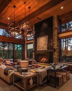 60 Stunning Log Cabin Homes Fireplace Design Ideas Modern Farmhouse Living Room Decor, Home Living Room, Living Room Designs, Rustic Farmhouse, Farmhouse Ideas, Modern Living, Home Fireplace, Fireplace Design, Log Cabin Homes