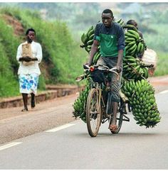 Banana farmer on his way from the plantation. Beautiful Rwanda