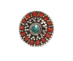 Round coral bohemian ring