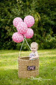 One Year Old Girl Photo With Flags Chevron And Pink Balloon