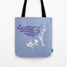 Winged dog Tote Bag #tote #bags #totebag #totesshoppers #society6 #vrijformaat #design #illustration #dog #2018 #yearofthedog #purple #violet #ultraviolet #lilac