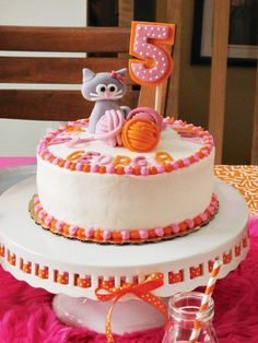 Pink and orange kitty cat cake