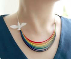 rainbow, dove and last drop of rain - NECKLACE