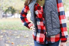 Styling a Plaid Top and Herringbone Vest from the Magnolia Post Co November Outfit, Pattern Mixing at it's Finest! Herringbone Vest, Fall Lookbook, Pattern Mixing, Plaid Scarf, Magnolia, November, My Style, Outfits, Tops