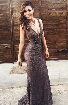 modest brown lace mermaid prom dresses, unique v neck party dresses with beading, elegant plunging sweep train evening gowns