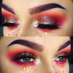 """Wild Cat on Instagram:""""Shadows: @meltcosmetics Radon and Love Sick, @sugarpill Suburbia, @nyxcosmetics Primal Color in Hot Fuchsia, @thekatvond @katvondbeauty Thunderstruck, and @inglot_usa #120 pigment and Body Sparkle #68 Waterline: @colourpopcosmetics Lippie Pencil in Heart On Lashes: @powderandpandemonium Calypso lashes stacked with a couple extra random lash pieces Glitter: @twinkled_t Coraline and nail art stars Brows: @anastasiabeverlyhills Taupe Dipbrow, and @suvabeauty Funny Face…"""