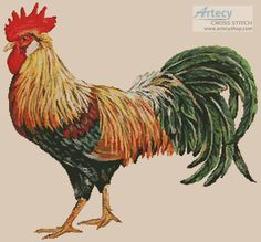 Artecy Cross Stitch. Rooster Cross Stitch Pattern to print online.