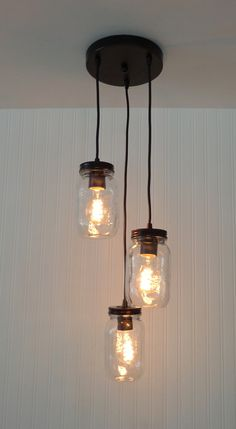 "A Mason Jar Chandelier that's charming for over a kitchen table or nock. * 8""…"