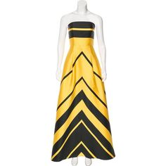 Pre-owned Sachin + Babi Noir Strapless Maxi Dress (€180) ❤ liked on Polyvore featuring dresses, yellow, square neck dress, yellow maxi dress, yellow dress, maxi dresses and striped maxi dress