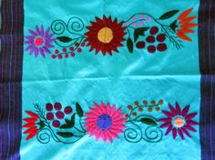 Mexican Tablecloth blue turquoise hand woven by ArteDeMiTierraMX